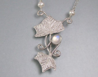 Real holly leaf necklace -  sterling silver nature inspired rainbow moonstone necklace - elven leaf jewelry - woodland fantasy necklace
