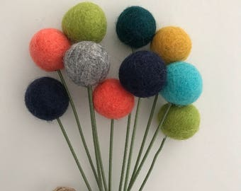 Felt Pom Pom Flowers- Billy Ball Flowers- Colorful Centerpieces- Bridesmaid bouquet- Flower bouquet- wool pom poms