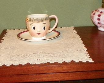 Vintage PY Japan MISS DAINTY Old Lady Teacup Saucer Cookie Porcelain Retro Kitchen
