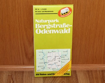 Naturpark Bergstrasse-Odenwald Map - German Car and Hiking Map - RV Auto und Wanderkarte - Vintage 1980's Fold-out Map