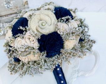 Timeless Classic Wedding Flower Collection // Navy, Wedding Bouquet, Bridal Flowers, Wedding Set, The SunnyBee Original, Keepsake Flowers