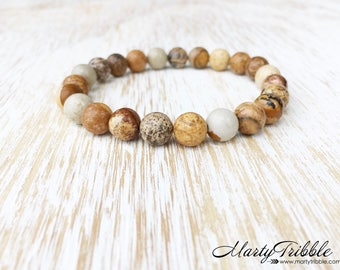 Jasper Bracelet, Mens Bracelet, Healing Bracelet, Mala Bead Bracelet, Healing Crystal Bracelet, Buddhist Jewelry, Vegan Jewelry Mens Jewelry