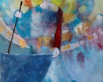 "Original Acrylic Painting on Canvas, Angel Art, Spiritual, Nature Spirits ""Star Spreader"" 18x24"""