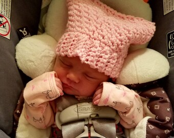 Womens march pink pussy hat.  Made to order.  Newborn size through adult size.  Pink pussy cat hat with ears.