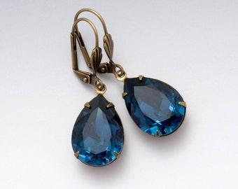 Navy Blue Earring, Dark Blue Rhinestone Earring, Blue Crystal Jewelry, Blue Drop Earring, Swarovski Crystal Earring, Leverback Earring Delia