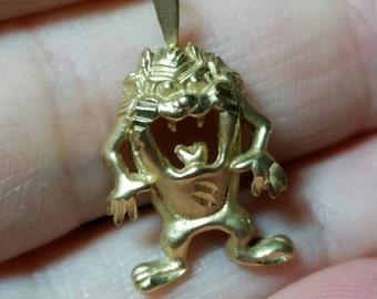 14k Solid Gold Tazmanian Devil Charm for Bracelet or Pendant