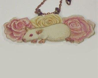 Rat and roses pendant necklace - unique hand-drawn art jewllery.