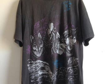 Double Sided Wolf Pack Worn Vintage T-Shirt