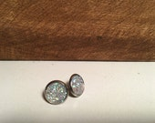 Crystal Clear Druzy on Stainless Steel Stud- 12mm (hypoallergenic)