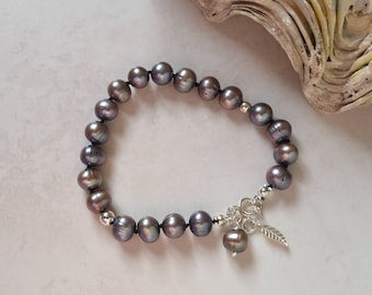 Classic Knotted Pearl Bracelet with Dark Silver Grey Freshwater Cultured Pearls and Sterling Silver
