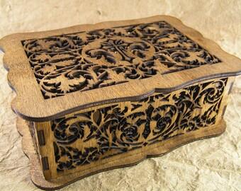 Celtic cross decorative scrollwork box