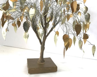 Vintage Jungalow Brassy Gold Wire Tree Sculpture Mixed Media Retro Metal BRASS IS BACK Shiny Dangling Leaves w/ movement in breeze
