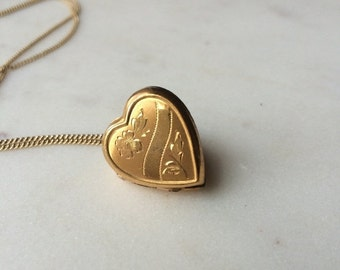 SALE Locket necklace / 1930s Vintage gold heart locket / Floral and Geometric etched 10K GF / Bliss Bros. / The Mabel