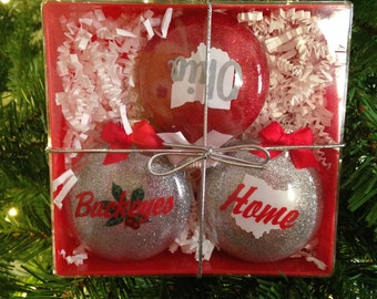 Ohio is Home, glass ornament gift set - 3 pack