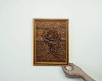 Vintage Hand Carved Rose Art with Initials, Circa 1970s