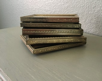 Vintage Picture Frames In Lovely Gold Toned Metal / 4x5 Set of 5 / Wedding Table Number Holders / Perfect For Old Family Photos / Farmhouse