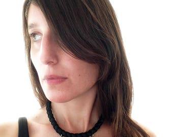 Choker, black choker, onyx choker, gemstone choker, onyx necklace - Spike necklace - handmade with a hand braided cord and three gemstones
