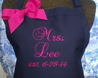 Apron Personalized Bride's Name Wedding Date