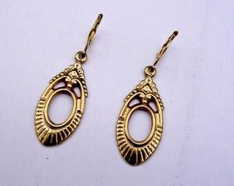 14K Gold Drop Earrings, Victorian Revival Gold Earrings, Gold Leverback Earrings, NOW 325 WAS 365