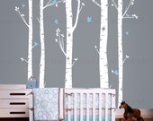 Birch Tree Wall Decal with Flying Birds   Custom Baby Nursery, Children's Room, Living Space Interior Design   Easy Application   007