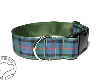 """Flower of Scotland Tartan Dog Collar - 1.5"""" (38mm) Wide - Sage Green Plaid - Martingale or Side Release -Choice of collar style and size"""