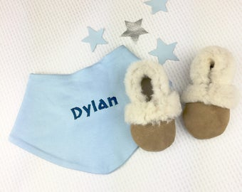Personalised baby shoes - persojnalised baby bandana bib - new baby gift set - sheepskin slippers - new baby gift - personalised baby gift