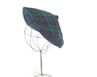 Vintage Madcaps Hat Wool Blue Green Plaid Tam Child's Size 1950s