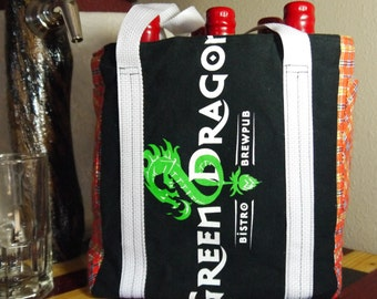 Beer Caddy, Beverage Carrier, 6 Pack Carrier, Craft Beer Growler Holder, Upcycled T Shirt Beer Bag Again, Craft Beer, Beer, Brew Bag, Brews