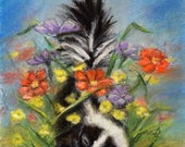 "Animal baby, Skunk, Nursery art print, wildlife, woodland, Canvas or paper print, ""Baby Skunk Sleeping Among the Flowers"" Laurie Shanholtzer"