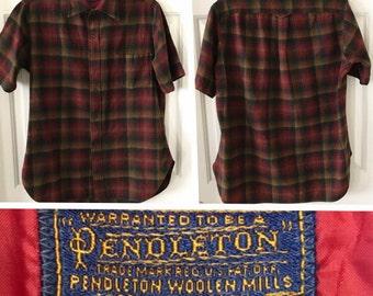 Vintage 1960's Pendleton 100% Wool Short Sleeve Plaid Button Up Shirt Size Men's LARGE