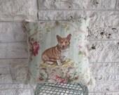 Corgi Pillow Vintage Dog Pillow Corgi Mint Green Fringe Pillow 17 x 17 Large Pillow Doggie Unique Gift