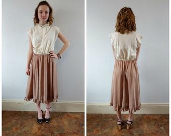 1970s day dress, 70s dress earth tones, neutral tones dress, minimalist dress, midi dress, size small
