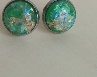Green  Gold Flaked Studs. Gold Leaf Flake and Opal Flake Earrings. 12 mm. Everyday Earring. Gift for Her. Bridesmaid Earrings.