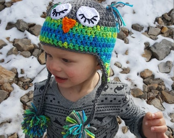 Crochet Sleepy Owl Toddler Hat, Blue, Green, Grey, Crochet Hats for Toddlers, Owl Hat for Kids, Sleepy Owl, Crochet Winter Hat, Pom Poms