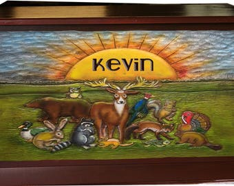 Wildlife Kids Toy Box personalized with a name