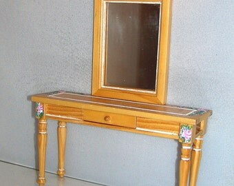 Slim HALL TABLE & MIRROR Hand-Painted with Tiny Roses 1:12 Dollhouse Miniature Furniture