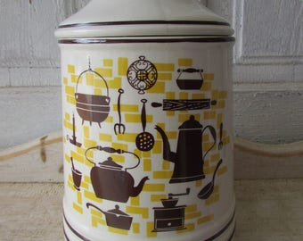 Jar canister vintage ceramic for your retro kitchen with lid brown and yellow mid century made in Japan