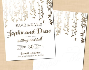 Gold Foil-Inspired Leafy Vines Save the Date Templates (4.25x5.5): Text-Editable in Word®, Printable on Avery® Postcards, Instant Download