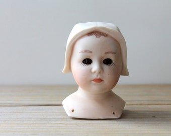 Ceramic vintage doll head / doll part supply / Roman / hazel brown eye girl doll head / pastel pink doll head / cottage chic quirky decor