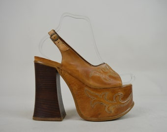 90s Does 70s El Dantes Tan Leather Wooden Platform Sandals UK 4.5 / US 7 / EU 37.5