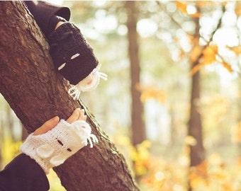 CAT Fingerless Gloves adult size, crochet cats mittens, christmas gift, fall, winter accessories