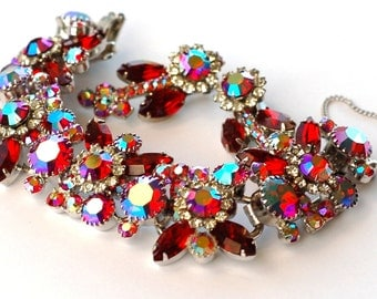 Juliana D&E DeLizza Elster Red AB Rhinestone Bracelet Earring Set