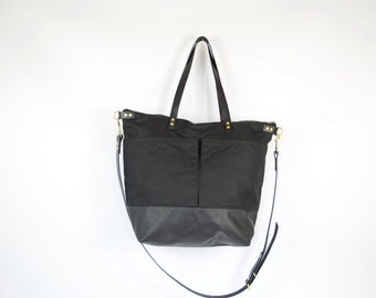 Waxed Canvas and Leather Diaper Bag / work travel tote in Midnight Black   -  LEWIS - Waterproof Waxed CANVAS top and LEATHER base carry all