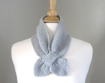 Gray Ascot Scarf, Pull Through Scarflette, Neck Warmer, Cashmere Merino Wool, Hand Knit Scarf