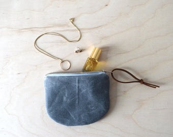 Waxed Canvas Pouch, Small Wallet Pouch, Waxed Canvas Wallet, Coin Purse, Card Wallet, Mini Zipper Pouch, Mother's Day Gift