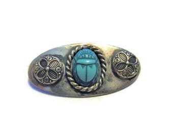 Vintage Sterling Egyptian Revival Turquoise Scarab Brooch