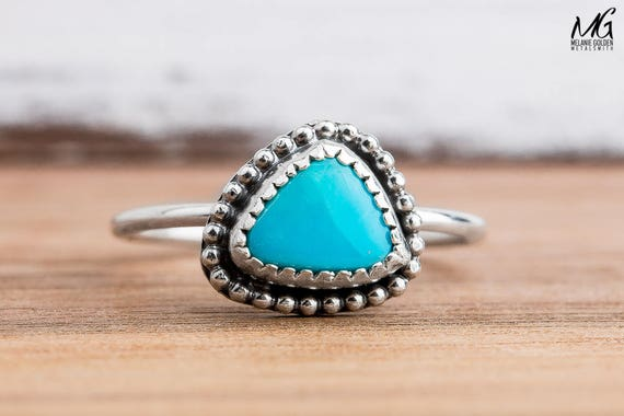 Morenci Turquoise Gemstone Ring in Sterling Silver - Size 7.75