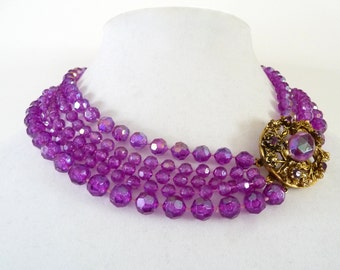 Selini Orchid Purple Lucite Necklace 5 Strands Iridescent Crackle Beads Gold Tone Closure Purple Rhinestone Vintage Jewelry TreasuresOfGrace