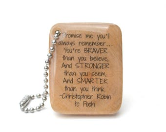 graduation gift personalized high school graduation college graduation keychain, going away gift, graduation gifts, winnie the pooh quote
