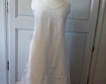 Unworn Linen Nightgown French Antique Nightdress Chemise Pure Linen